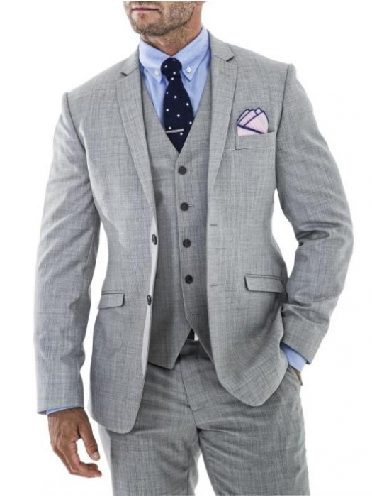 9eb1538864cd Light Grey tailored fit three piece suit