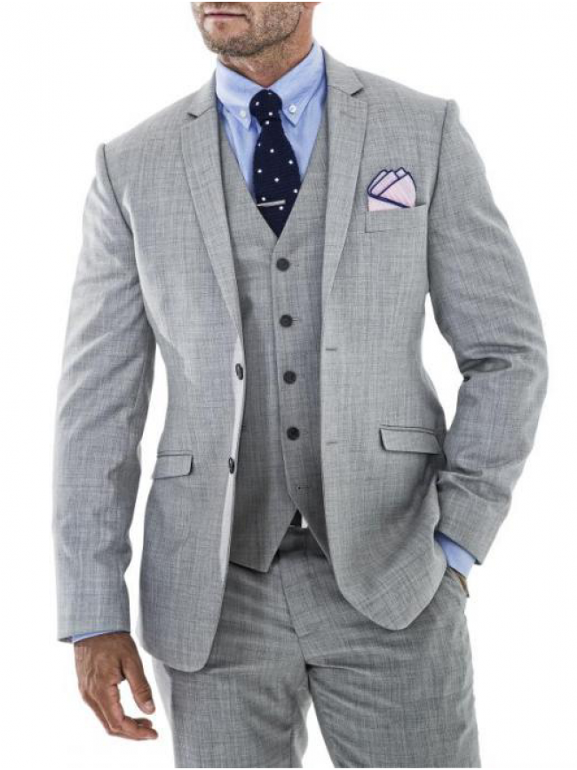 Light Grey tailored fit three piece suit