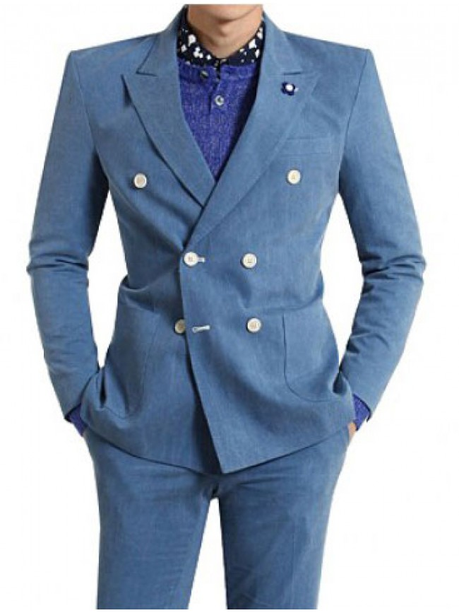 Double breasted men blue suit