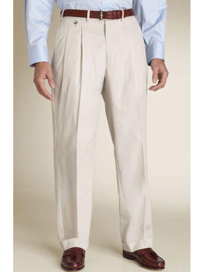 Men Double Reverse Pleats Dress Pants For A Comfortable Fit