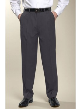 Men tailored fit solid grey pant