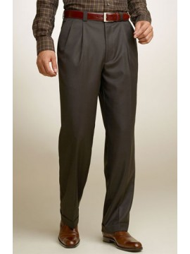 tailored fit double-pleated Brown pants