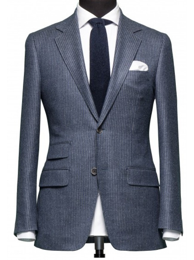 Grey Striped Slim fit blazer with ticket pocket
