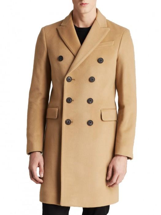 Men Knee Length Double Ted Coat, Knee Length Mens Trench Coat
