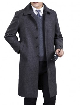 Knee Length Men Outerwear
