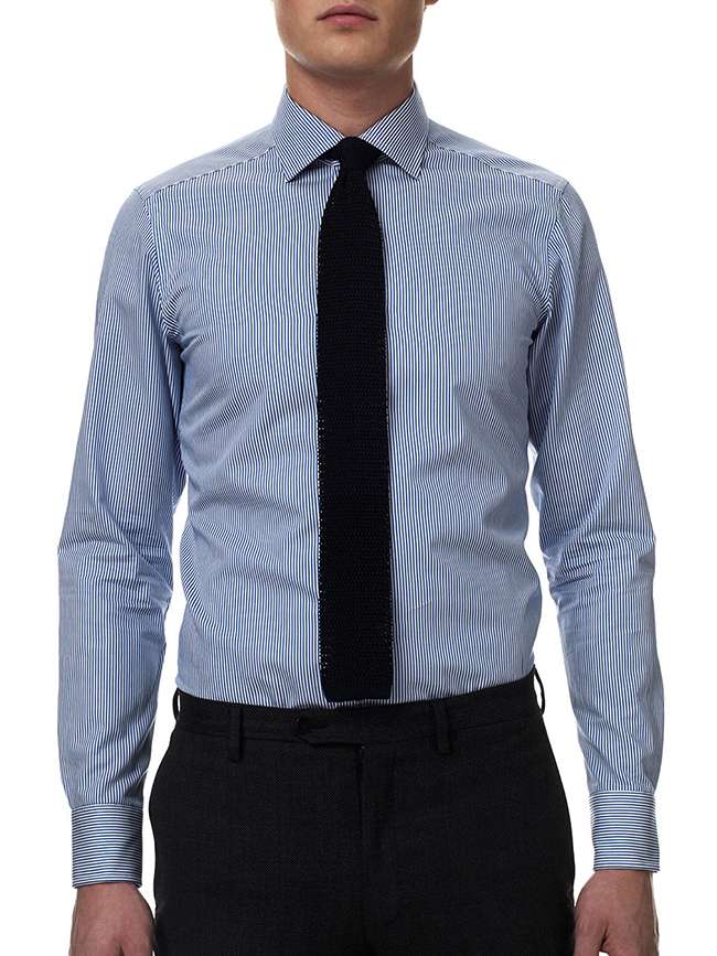 Men's slim fit blue striped shirt