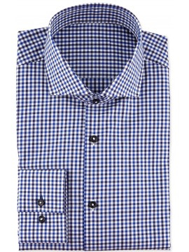 Spread collar checkered shirt