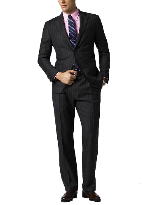 Men single breasted 2 button black striped suit