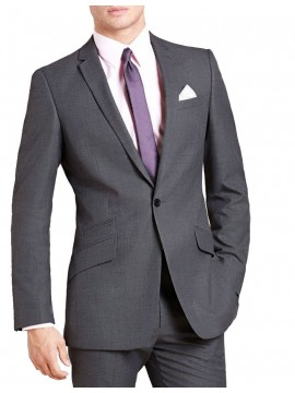 Single breasted one button slim notch lapel Grey suit