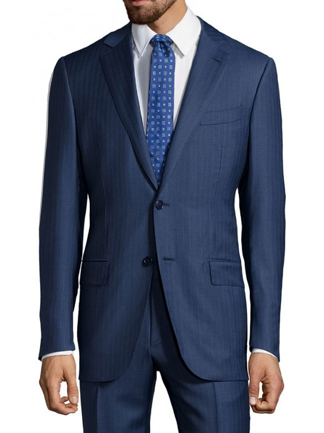 Blue Pinstriped 2-Button slim fit Suit With Flat Front Pants
