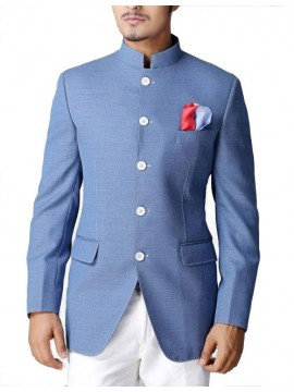 Nehru Collar 5 Button Front Jacket