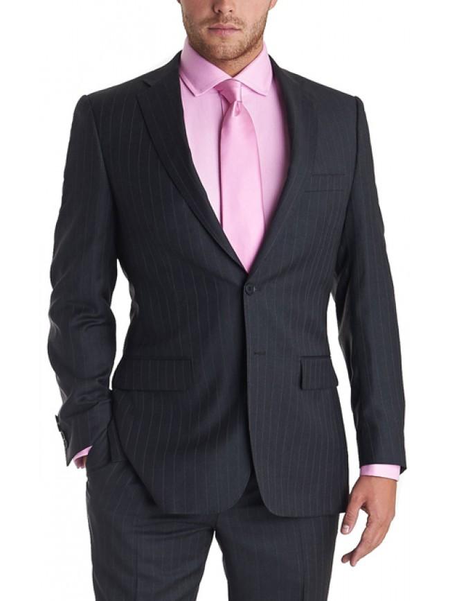 Men Slim fit black stripped business suit