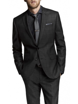 Single breasted men window pane suit