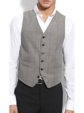Six button short casual look plaid waist coat