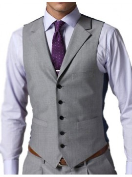 Notch Lapel Men Grey Waist Coat