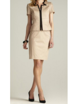 Short Sleeve Contrast Trim Skirt Suit