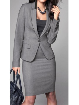 Grey Skirt Suit with trimming details