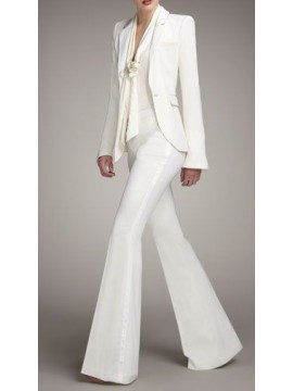 Women Suit single breasted jacket and boot leg pants